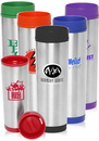 Custom 16 oz. Slim Color Top Travel Mugs, Stainless Steel and Plastic, 9