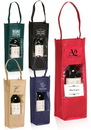 Custom Printed Wine Bottle Carrier Gift Bags with Clear Window, 80 Gsm Non-Woven Polypropylene, 4.75