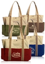 Custom Dual Colored Tote Bags, Tough 600 Denier Color Polyester, 13