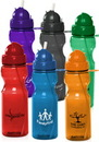 Custom 22oz Domed Flip Action Straw Water Bottles, Polycarbonate, 9.75