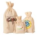 Custom IDD4517 Weedy 100% Gusseted Natural Cotton Drawstring Bag, 4.5