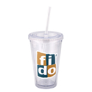 Blank DA9321 500 Ml. (16 Oz.) Double Walled Tumbler With Straw, Double Walled Acrylic Tumbler, 6.25