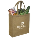 Custom E6708 Laminated Jute Tote, Jute With Laminated Backing, 14