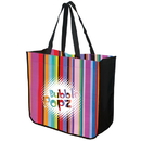Custom TO4815 Large Multi-Stripe Recycled Tote, 120 Gram Non Woven And 30 Gram Laminated Non Woven Polypropylene, 16.25