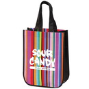 Custom TO7287 Mini Multi-Stripe Recycled Tote, 120 Gram Non Woven And 30 Gram Laminated Non Woven Polypropylene, 9.25
