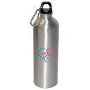 Blank WB8007 750 Ml (25 Oz.) Aluminum Water Bottle With Carabineer, Aluminum, 9.5