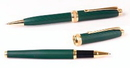 Custom 6713-GREEN - Inluxus Executive Style Ballpoint Pen & Rollerball Pen Set with Gold Appointments