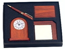 Custom GFTS-LG5 - Wood Series Pen, Desk Clock, Note Holder & Card Case Set