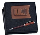 Custom GFTS-MED2-R - Istrich Series Leather Pen & Credit Card Wallet