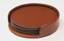 Custom GLCOAST - Single Brown Leather Coaster with Leather Holder with 3 Chrome Posts