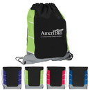 210D Polyester Drawstring Backpack With Side Color Accent Panels