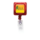 Custom BH101 - Square Retractable Badge Holder with Slip on Clip, 1 1/4