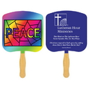 Custom FR105-1 - Religious Peace Stained Glass Spot Color Fan, 7 3/4