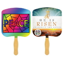Custom FR105-4 - Religious Peace Stained Glass Four Color Process Fan, 7 3/4