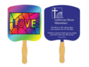 Custom FR106-1 - Religious Love Stained Glass Spot Color Fan, 7 3/4