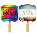 Custom FR107-4 - Religious Faith Stained Glass Four Color Process Fan, 7 3/4