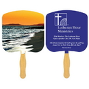 Custom FR108-1 - Religious Shoreline at Sunset Spot Color Fan, 7 3./4