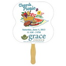 Custom FW105-4 - Hour Glass Sandwiched Hand Fan/Four Color Process, 7 3/4