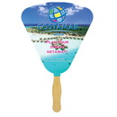 Custom FW107-4 - Seashell Sandwiched Hand Fan with Four Color Process, 7 7/8
