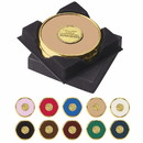 Custom 25086 Two Coasters in Deluxe Black Flocked Gift Box, Brass, Leather and Cork