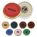 Custom 25226 Lasered Leather Coasters, Brass-Plated Zinc or Zinc Finish, Leather and Cork