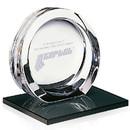 Jaffa Custom 35471 High Tech Award on Black Glass Base - Medium, 24% Lead Crystal on Black Glass Base