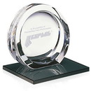 Jaffa Custom 35475 High Tech Award on Black Glass Base - Large, 24% Lead Crystal on Black Glass Base