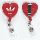 Custom Heart Shape Retractable Badge Holder, 1 1/2