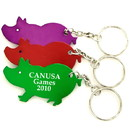 Custom Jumbo Size Pig Shape Bottle Opener Key Chain, 2 11/32
