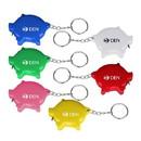 Custom Pig Shape Tape Measure Key Chain, 2 1/4