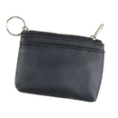 Custom PU7041 Black Coin Pouch w/ Key Ring, PU/Leatherette - Embroidery