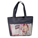 Custom ST2001 Black Micro Mesh Shopping Tote, 600D Polyester/Nylon Mesh - Embroidery