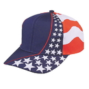 Custom US-FLAG-6 USA Flag Cap, 6 Panel - Red/White/Blue - Screen Print