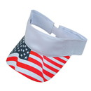 Blank USV USA Flag Visor, 100% Cotton - White