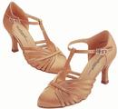 Stephanie Dark Tan Satin Dance Shoes - 15015-65
