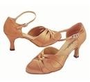 Stephanie Dark Tan Satin Dance Shoes - 15016-65
