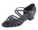 Stephanie Black Leather / Two Way Strap Dance Shoes - 16003-11X