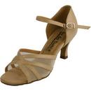 Go Go Dance Shoes, Open Toe, Tan Leather / Mesh - GO4073