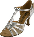 Go Go Dance 2.75 Silver Leather / Mesh - T-Strap dance shoes - GO4173