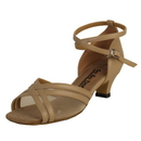 Go Go Dance Shoes, Open Toe, Tan Leather / Mesh - GO7011