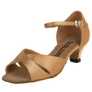 Go Go Dance Shoes, Open Toe, Dark Tan Satin - GO7022