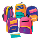 STOPNGO Line Custom Assorted Neon Colors 70D Nylon Children's Backpack with Removable Pencil Pouch, 11 1/2