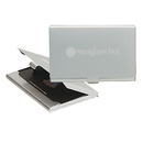 STOPNGO Line Custom 2 Tone Brushed Aluminum Business Card Holder, 3 5/8