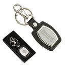 STOPNGO Line Custom Leather & Brushed Plate Keyring, 1 1/2
