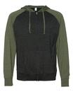 Independent Trading SS155RJZ Lightweight Jersey Raglan Hooded Full-Zip
