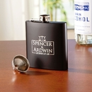 Black Flask Set With A Funnel Packaged In A Presentation Box