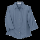 Women's Easy-Care 3/4 Sleeve French Twill Shirt - Imprinted