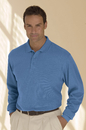 Solid Textured Long Sleeve Polo - Imprinted