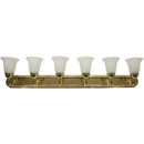Sunlite 45465-SU 6 Lamp Vanity Decorative Sconce Fixture, Polished Brass  Finish, Alabaster Glass
