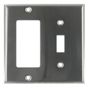 Sunlite 50620-SU E222/S 2 Gang Toggle Switch and Decorative Switch Receptacle Combo Plate, Steel